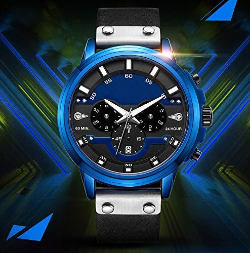 Reloj de pulsera de cuarzo con cronógrafo, resistente al agua, informal, de cuero, deportivo, luminoso, masculino, reloj de negocios