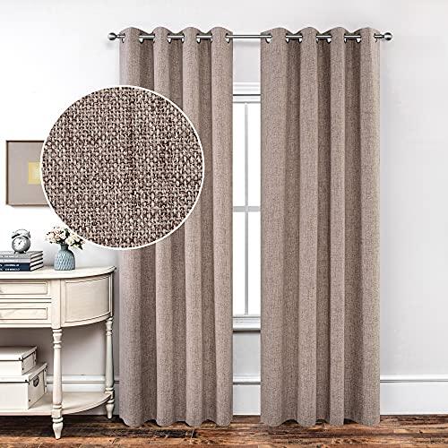 CUCRAF Juego de 2 cortinas opacas de ahorro de energía, 100% con ojales térmicos aislados para dormitorio, tratamiento de ventana con capa trasera de revestimiento, 100 x 200 cm, color lino
