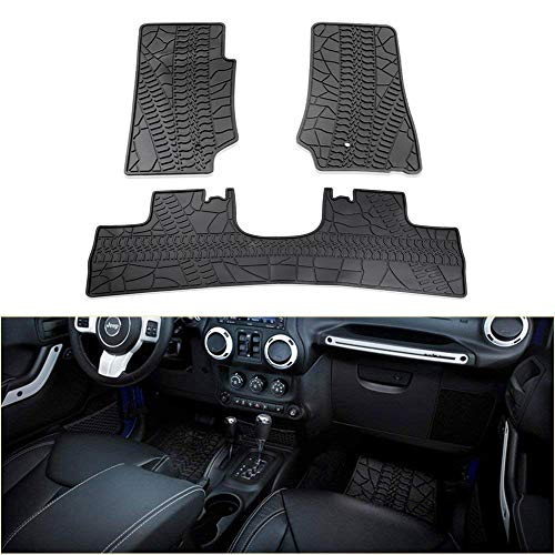bosmutus Floor Mats Liners Compatible, Front Row And Rear OEM Floor Liner Set 2014-2018 J-e-e-p Wrangler JK 4 Door Unlimited Slush - Unique TPE all Weather Protection, Includes 1st & 2nd