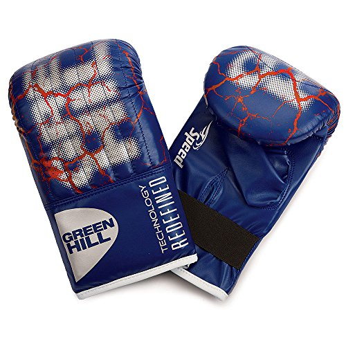 GREEN HILL Guanti da Sacco Speed Neri Boxe Pugilato Bag Gloves Fit (Blu, M)