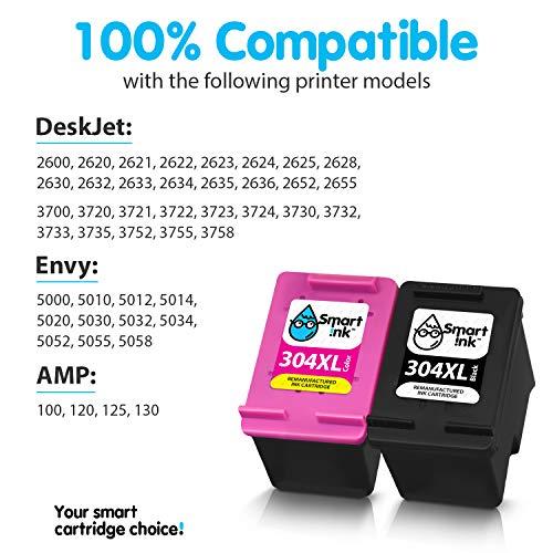Smart Ink Reemplazo Compatible del Cartucho de Tinta 304XL 304 XL Alto Rendimiento 2 Pack (Negro & Color) Cartuchos para DeskJet 2620 2625 2630 2635 3700 3720 3730 3735 3755 Envy 5010 5010 5020 5055