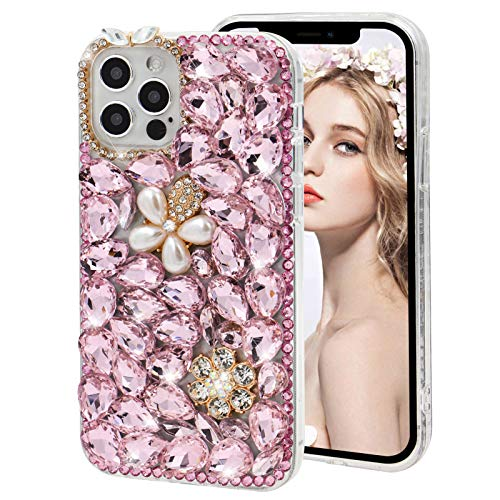 Diamond Case for Galaxy S21 Ultra 5G,MOIKY Fashion 3D Bling Rhinestone Pearl Flower Case Clear Crystal Shiny Luxury Handmade Transparent Protective Cover Case for Samsung Galaxy S21 Ultra 5G - Pink#2