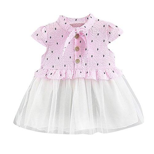 Deloito--Baby Clothes Mode Robe de Princesse Fille Vetement Bebe Ete Printemps Casual Vêtements À Pois Imprimé Infantile Tenue Mancherons Gallus Dress pour 0-24 Mois (24M, Rose)