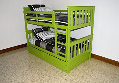 BUNK BEDS for Kids with Ladder and 2 Large Under Bed Drawers for Amazing Storage & Great Use of Space, Twin Over Twin USA Made for Quality, Fun Lime Green