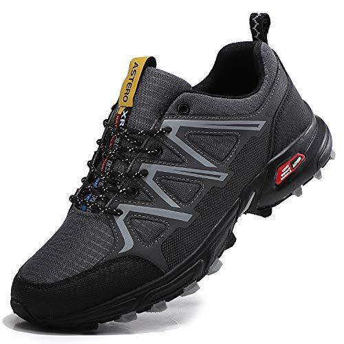 ASTERO Uomo Scarpe Ginnastica Sportive Running Sneakers Corsa Basse Basket Respirabile Fitness Outdoor Escursionismo Calzature Taglia 41-46(EU, Grigio Scuro, Numeric_43)
