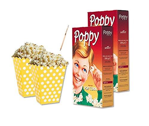 IRPot - 24 SCATOLINE BOX POP CORN GIALLO POIS + 500 GR MAIS POP CORN SNACK FESTA