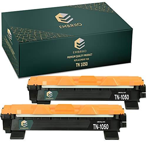 EMBRIIO 2X TN-1050 TN1050 Cartucho Tóner Reemplazo para Brother HL-1110 HL-1112 DCP-1510 DCP-1512 DCP-1610W DCP-1612W HL-1210W HL-1212W MFC-1810 MFC-1910W