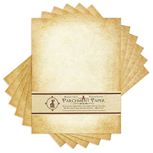"""Aged-Look Parchment Stationery Paper for writing and printing- 8.5x11"""" -Bulk Pack of 100 sheets"""