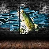 GSDFSD Composición de 5 Cuadros de Madera para Pared - Pesca de lubina - Cuadros Dormitorios Modernos - Listo para Colgar - 100 * 50 cm