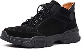 2019 Men lace-ups Flats, Mens Work Boot for Men Climbling Shoes Drawstring&Elastic Bands Suede Leather Flat Vintage Retro Breathable with High-Traction Grip Hiking