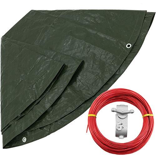 Abdeckplane rund Ø 4 m 210 g/m² grün mit Spannseil 21 Meter Wasserdichte Gewebe-Plane Abdeckung Regenschutz Pool-Plane