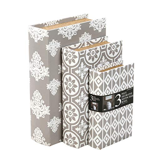 Hosley Storage Memory Book Box Set  3, Gray White Farmhouse Large 12 , Med 10  Small 8  High Ideal Gift for Wedding Memories Jewelry Trinket Hobby Keepsake Cash Pill Polish Gifts Letter File Photo O6
