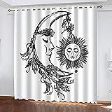 ADKMC Cortinas Infantiles Blanco Luna Sol Arte 150X166CM 3D...