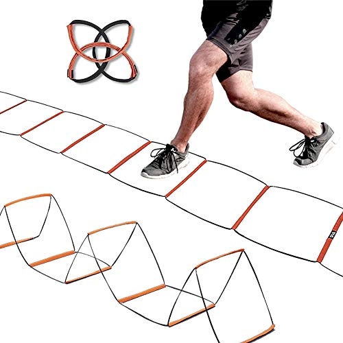 Agility Ladder Speed Training Equipment Hurdles for Home Workouts, Team, Soccer, Gym Equipment, Speed and Agility Training, Foldable, Quick Set-up 8 Rung