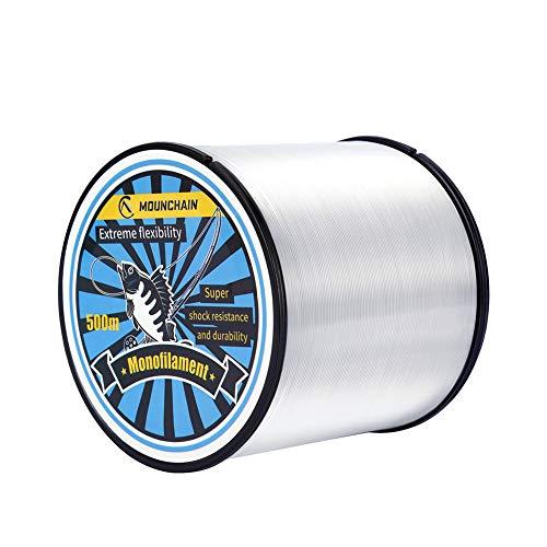 Mounchain - Hilo de nailon transparente, adecuado para trucha, 300 m, 0,19 mm, 5,2 kg