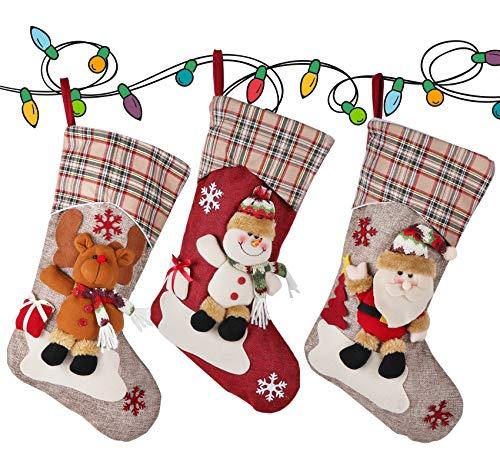 ilauke Weihnachtsstrumpf 3er Set, Nikolausstiefel zum Befüllen und Aufhängen 46x25cm, Nikolaussocken groß als Weihnachtsgeschenktasche zum Aufhängen für Kamin, Weihnachtsbaum, Weihnachtsdeko