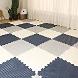 E.enjoy-Suelos de Gimnasio Enclavamiento Soft Kids Baby EVA Foam Activity Play Mat Baldosas Espesar 1.2cm (Color : Navy Blue+White+Gray, Size : 16 Piece)