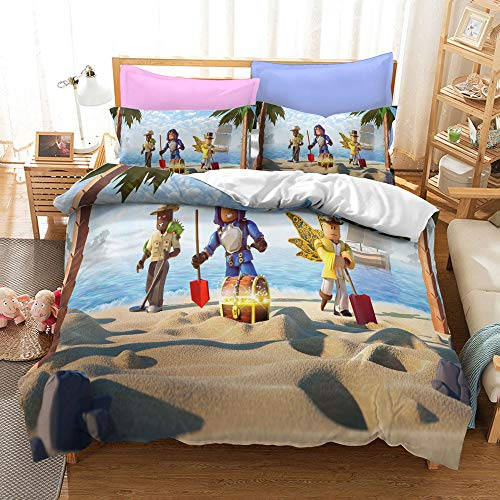 XCMDSM Duvet cover 3D Printed Bedding set Duvet Cover and Pillowcase Bedroom Decor Quilt Covers for Kids and Adults Soft Microfiber Set Roblox(240X260CM 3 pieces)