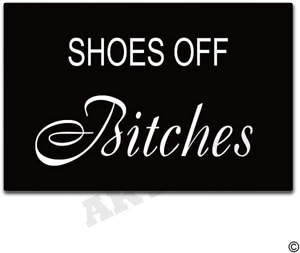 Artswow Funny Door Mat Shoes Off Bitches Doormat Indoor Outdoor Entrance Floor Mat With Non Slip Rubber Backing Door Mat 30 By 18 Inch