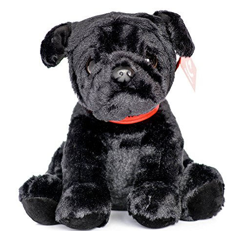 Aurora Black Pug Plush Soft Toy 24cm