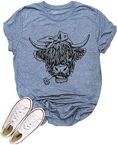 KNEYATTA Camiseta de vacas de ganado para mujer, divertida, linda impresa, gráfica, regalo de granjero, suelta, casual, manga corta,...