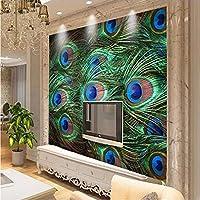 HGFHGD 孔雀の羽の美しいパターン3Dリビングルーム壁画テレビの背景の壁紙家の装飾の壁紙ウォールステッカーウォールアート