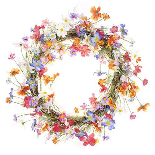 LTWHOME Dmr 58cm handgemachter Frühling Sommer Kranz mit Mehrfarbiger kleine Blumen für Haus, Tür, Wand, Kaminsims, Fenster Decoration Model:WHCHL