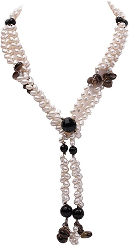 JYX Pearl Long Strand Necklace 6x8mm White Oval Freshwater Cultured Pearl and Black Faceted Agate Gemstonel Necklace 47