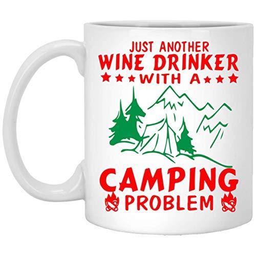 Divertidas tazas de Navidad para bebedor de vino con problema de camping, los mejores regalos de Navidad para amigos familiares y compañeros de café blanco taza de 325 ml