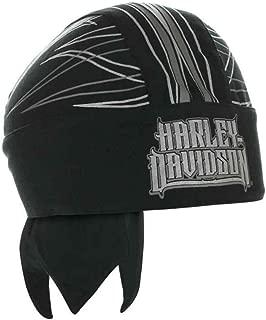 HARLEY-DAVIDSON Men's Spiked H-D Text Reflective Headwrap, Black HW20875