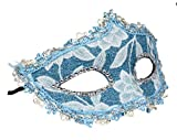 Mardi Gras Carnival Masquerade Venetian Face Mask for Women, Blue and White Lace Floral Costume Accessories