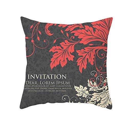 AtHomeShop 45 x 45 cm Fundas de cojín decorativas en poliéster con hojas inglés, suave y cómoda, funda de cojín cuadrada para sofá, dormitorio, salón, color negro y rojo, estilo 17