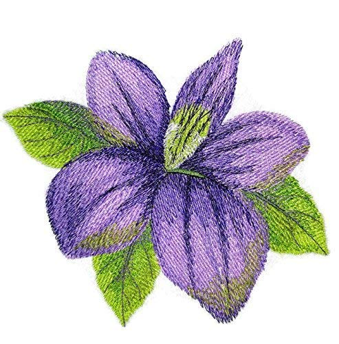 BeyondVision Custom and Unique Water Color Blooms and Butterflies [Watercolor Violet Bloom] Embroidered Iron on/Sew patch [5.54' 4.86'] [Made in USA]