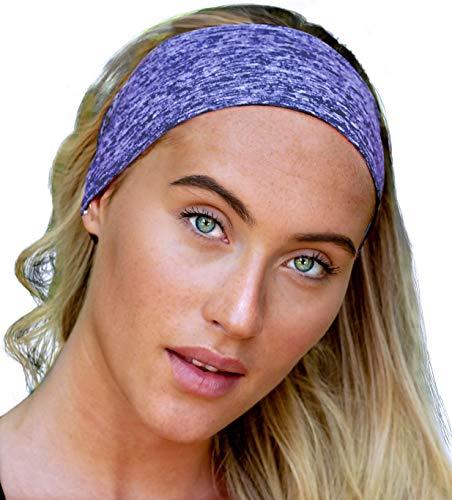 E Tronic Edge UNISEX Stirnband Damen und Herren | Schweißband mit Anti-Rutsch-Streifen | Sport Stirnband für alle Kopfgrößen(Blau)