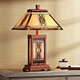 Walnut Mission Collection Rustic Table Lamp with Nightlight Wood Base Tiffany Style Antique Stained Art Glass Shade for Living Room Bedroom House Bedside Nightstand Home Office - Robert Louis Tiffany