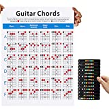 DANIVE Guitar Chord Poster, 16'x22' Guitar Chord Chart and Guitar Note Stickers, Cheatsheets Bundle for Beginner, Adults, Kids, Music Stuff, Chord Learning Aid