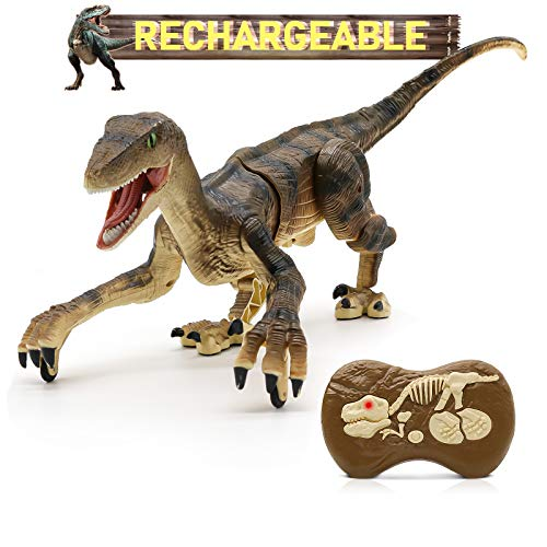 Hot Bee Remote Control Dinosaur Toys, Big Walking Dinosaur Robot w/ Led Light & Roaring 2.4Ghz Simulation RC Velociraptor Toys Gifts for Kids & Boys 5-7