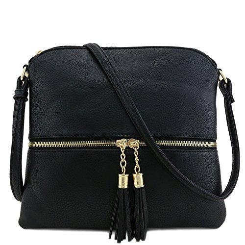 Tassel Accent Medium Crossbody Bag Black
