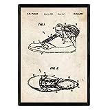 Nacnic Poster con Patente de Zapatilla Baloncesto 3. Lámina con diseño de Patente Antigua en tamaño ...