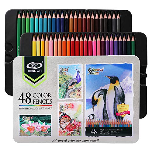 Colored pencils & Drawing Coloring pencil set,Advanced Art Pencils for Beginners & Pro Artists in tin Box. (48-Color)