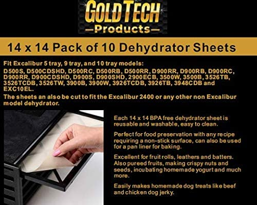 GOLD TECH Food Dehydrator Sheets Flexible Reusable and Resizable Tray Liners Non Stick Baking product image