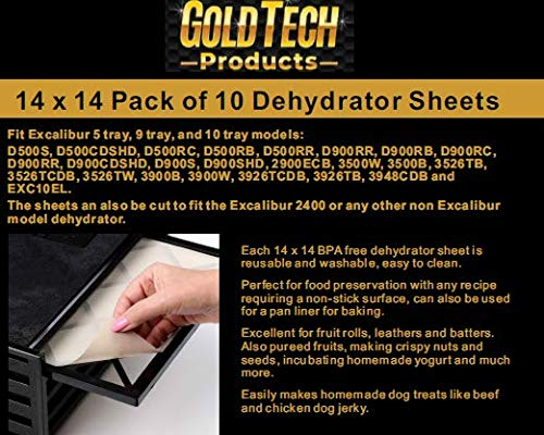 Best Deals! GOLD TECH Food Dehydrator Sheets - Flexible Reusable and Resizable Tray Liners Non-Stick...