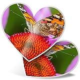 Impresionante 2 pegatinas de corazón de 7,5 cm – Vanessa Cardui Bonita mariposa divertida calcomanías para portátiles, tabletas, equipaje, libros de chatarras, neveras, regalo genial #14234