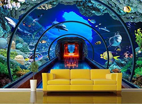 3D fotobehang wandschilderij wandschilderijen aquarium woonkamer TV sofa achtergrond behang moderne wooncultuur 140 x 100 cm