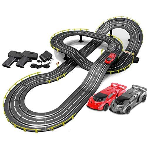 Race Tracks Track Racing 5M Electric Rail Carry Slot Racing Set Vehicle Playets Splicing Pista Montaje Juguete Regalo De Cumpleaños (Color : Electric+Hand Crank, Size : 2 Cars)