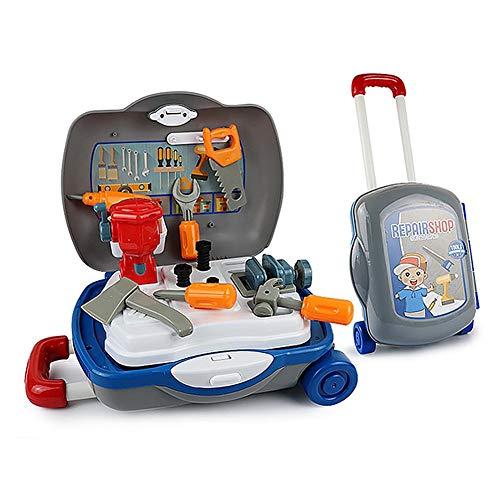 Caja de Herramientas Herramientas de reparación de simulación del bebé Taladro eléctrico Destornillador reparación casera de Carro de Juguete para el hogar
