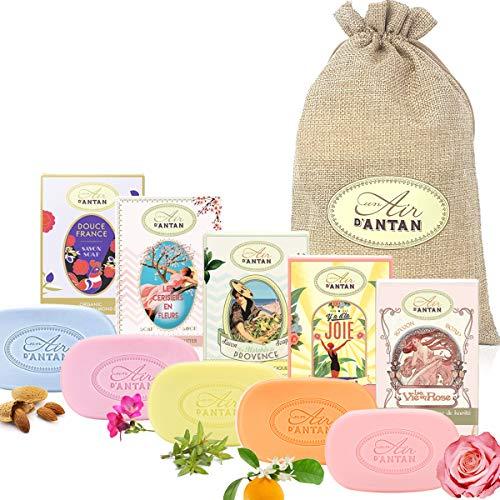 Beauty Set: 5er Seife Pack Un Air d'Antan/Bio Arganöl, Sheabutter/In einer hübschen Jutetasche /5 Duft: Rose, Mandel, Verbena, Kirschblüte, Orangenblüte/Geschenkset Damen/Wellness Set Für Frauen
