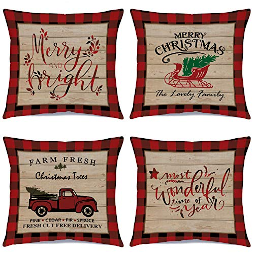 Ueerdand Christmas Pillow Covers Country Christmas Decorations 4 Pack Farmhouse Bufflo Plaid Decorative Xmas Throw Pillow Cases Cotton Linen Cushion Covers 18 x 18 Inches