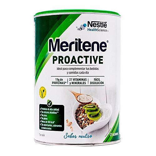 Meritene® PROACTIVE - Ingredientes con beneficios sobre el tono muscular, la salud ósea, el sistema inmune y madurez de la mujer - Sabor Neutro - Bote 408g (17 raciones)