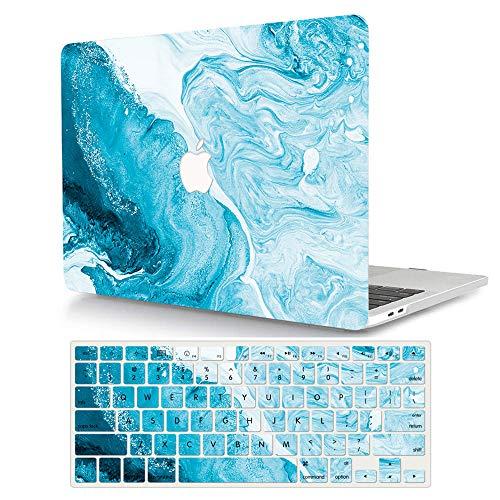 AJYX MacBook Air de 13 pulgadas funda protectora y cubierta de teclado solo para Mac Air 13 Retina con Touch ID - Mármol azul